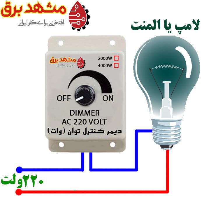 دیمر کنترل توان و نور لامپ و المنت